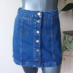 TOPSHOP full button up Jean skirt pockets size 2
